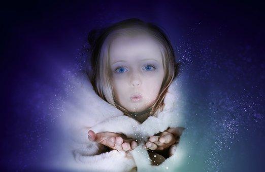 人間, 女の子, 子, 顔, 料金, 魔法, ブロンド, 肖像画, 冬, 毛皮