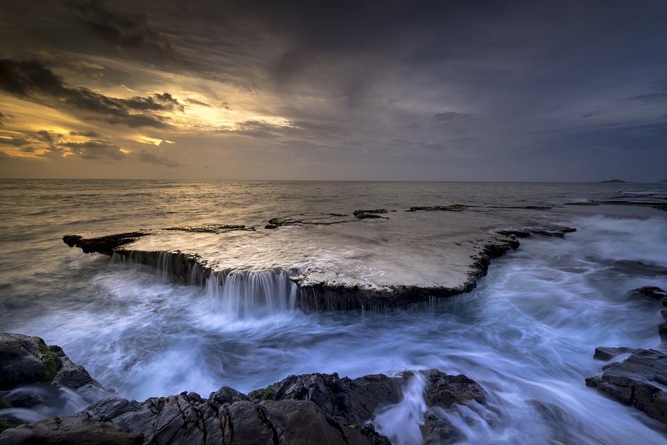 Sea, Coast, Cascade, Reef, Tide, Water, Flow, Ocean