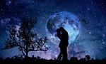 moon, couple, blue