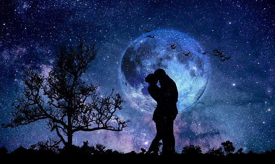 Lune, Couple, Bleu, Amour, Amoureux