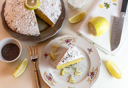 食品, ケーキ, レモン, 糖, 組成, レモンケーキ, ナイフ, 新鮮な