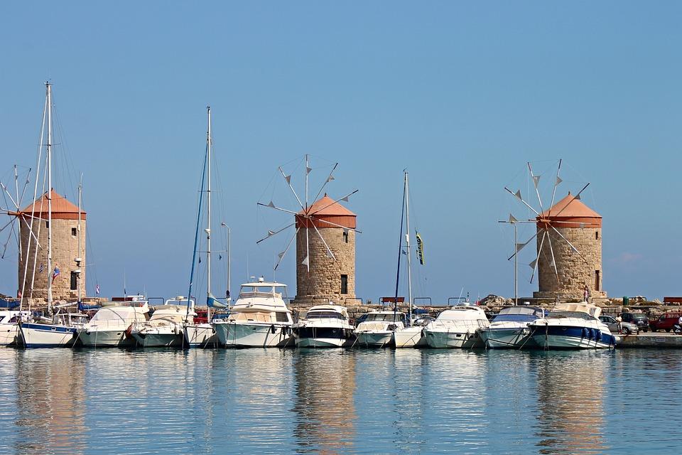 Windmills, Landmark, Rhodes, Island, Greece, Building