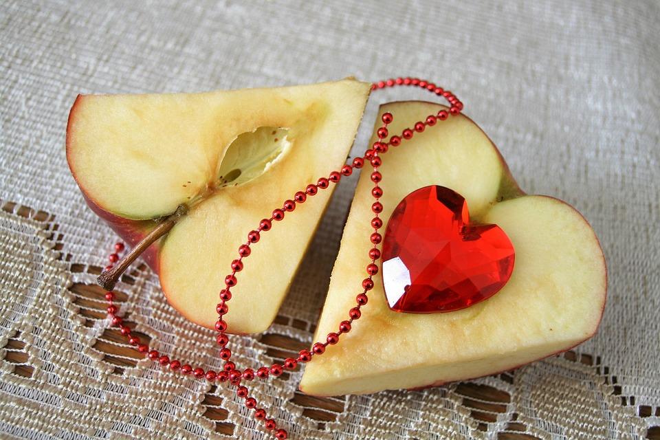 Herz, Valentinstag, Essen, Obst, Glasherz, Dessert