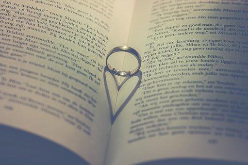 紙, ページ, リング, ロマンチック, 愛, バレンタイン, 中心部, 本