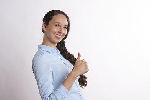 若いです, 人, 女性, 分離, デスクトップ, 大人, 親指, 笑顔