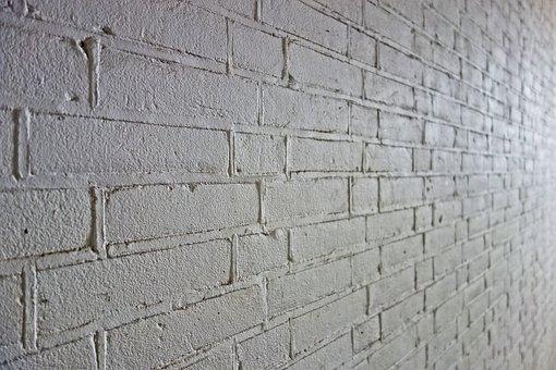砖墙, 墙, 白色的砖墙, 白墙, 砌体, 煤层, 砂浆, 透视, 砖背景
