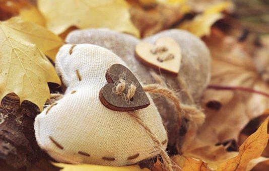 Heart, Autumn, Leaves, True Leaves, Wood