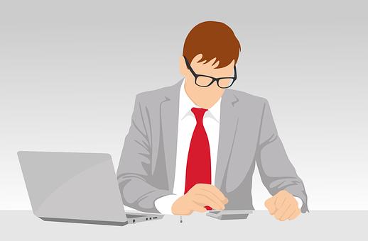ビジネス, オフィス, 男, デスクトップ, コンピュータ, 人, ビジネス