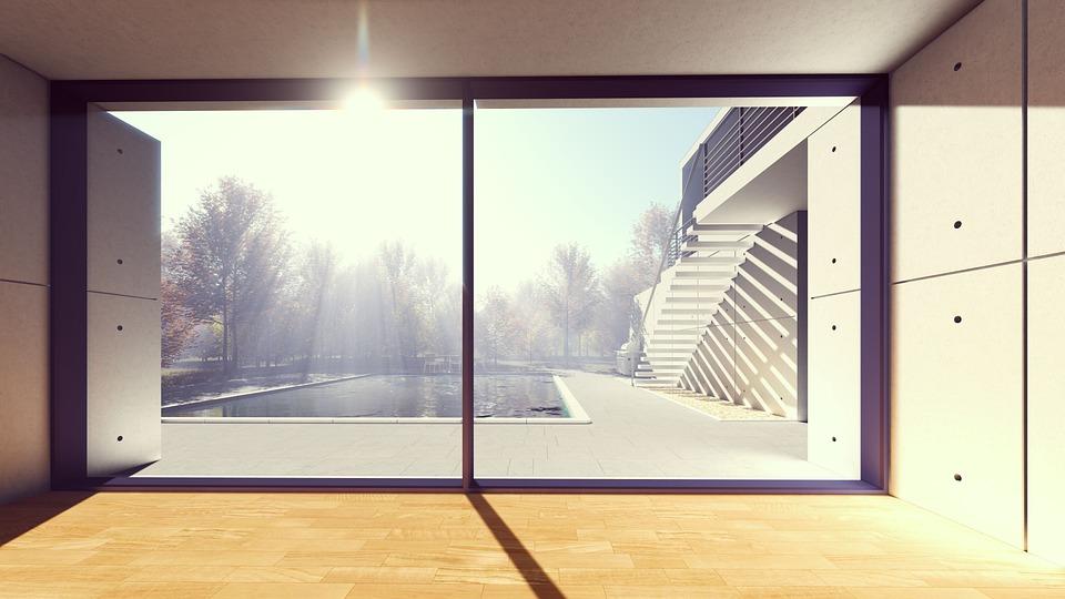 窓、屋内、空、建築、晴天