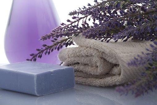 ラベンダー, Soap, タオル, 美しさ, バスルーム, シャワー, 緩和
