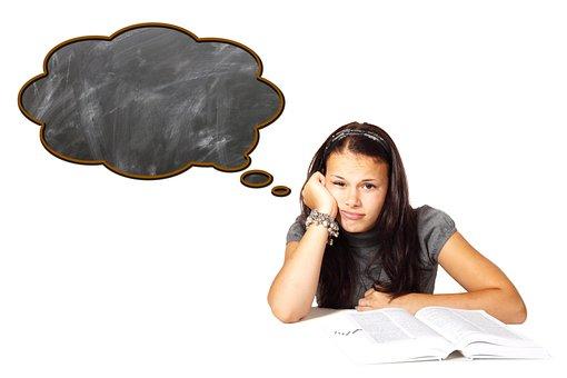 学ぶ, 学校, 学生, ボード, 思考バブル, 思う, 学習困難, 問題, 退屈