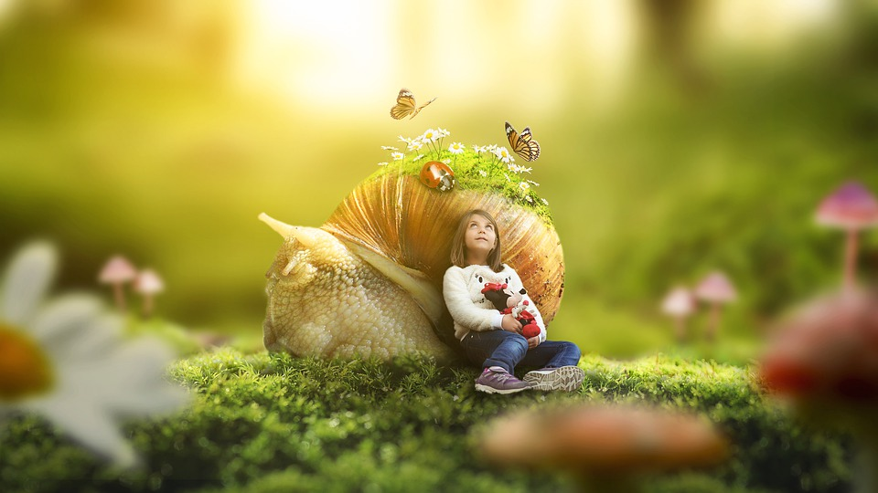 Girl Nature Outdoors Little Grass Sunlight Snail