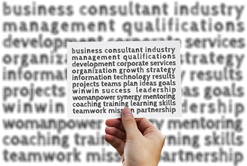 ビジネス, 管理, 手, 書きます, マーカー, キーワード, テキスト, 解釈, コントロール