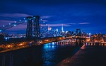 bridge, city, body of water