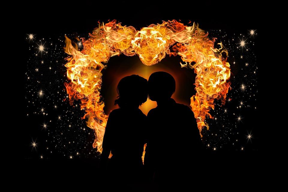 Herz, Liebe, Flamme, Liebespaar, Universum, Himmel