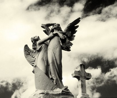 Angels, Cemetery, Cross, Sculpture