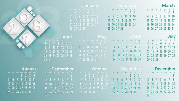 Calendar, 2018, Year, Design, Date, Card
