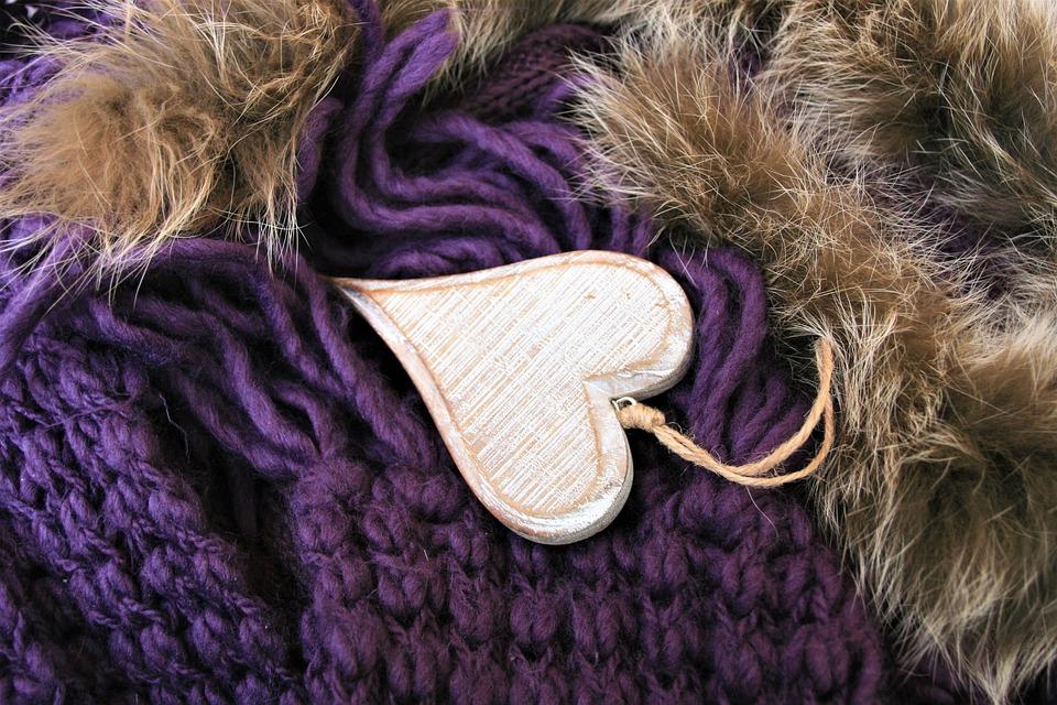 Herz, Violett, Holz, Farbe, Wolle, Flauschige, Stil