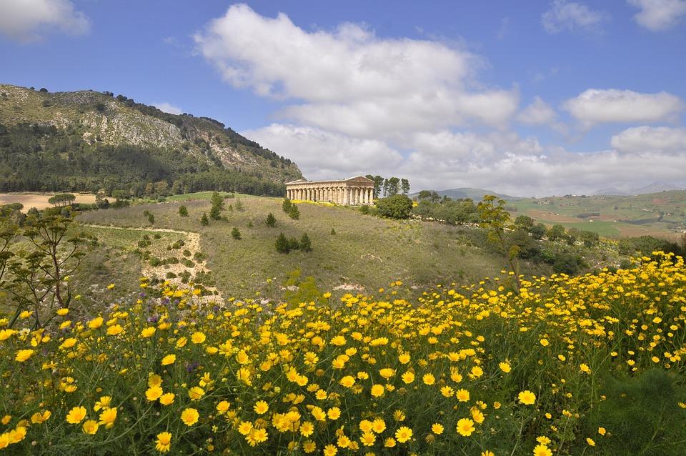 Temple, Sicily, Segesta, Spring, Architecture