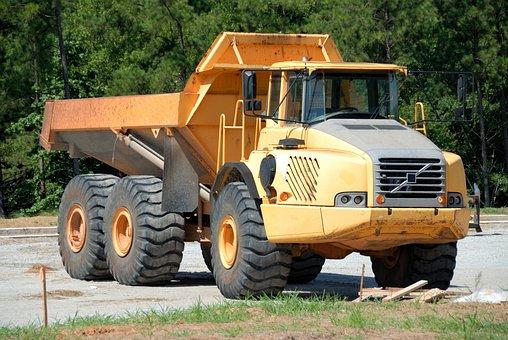 ダンプ トラック, マシン, 重い, 車両, 建設, 機器, 掘削機, 産業