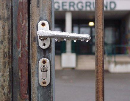セキュリティ, ロック, ドア, 入り口, 安全性, 学校, 休日, 休暇