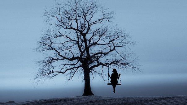 Tree, Swing, Lady, Woman, Girl, Relaxing