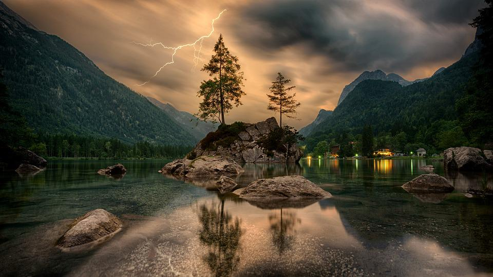 Nature, Waters, Lake, Island, Landscape, Thunderstorm