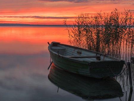 Βάρκα, Ηλιοβασίλεμα, Dawn, Φύση