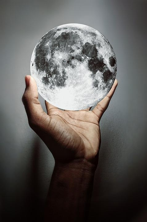 Moon Hand Catching The Darkness Spherical