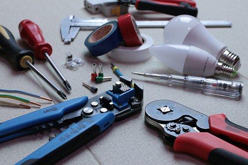 Eletricista, fiação, instalação, ferramenta