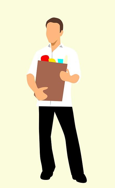 Épicerie, L'Homme, Sac À Provisions, Isolé, Adulte, Sac