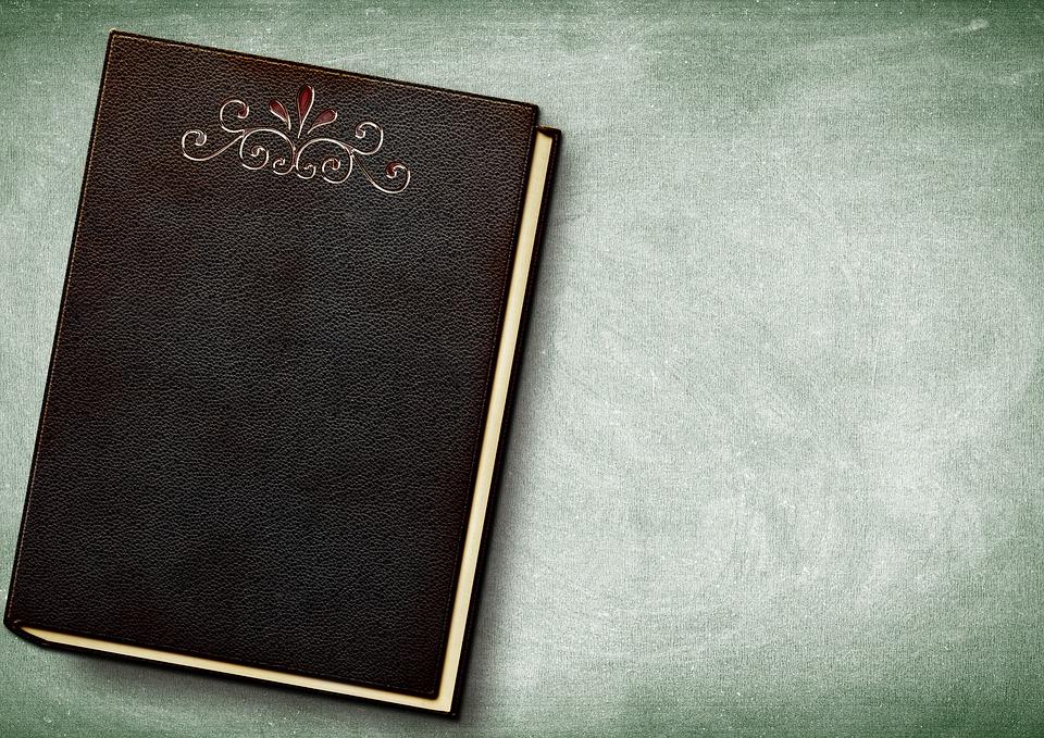 本, エンボス, 革, 本の表紙, フロントとバック カバーします, クローズ, レザーカバー, 文学, 研究