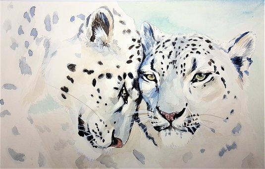 Leopard, Cat, Beast, Watercolor