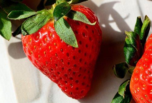 イチゴ, おいしい, フルーツ, 食品, 果物, 甘い, クローズ, 赤