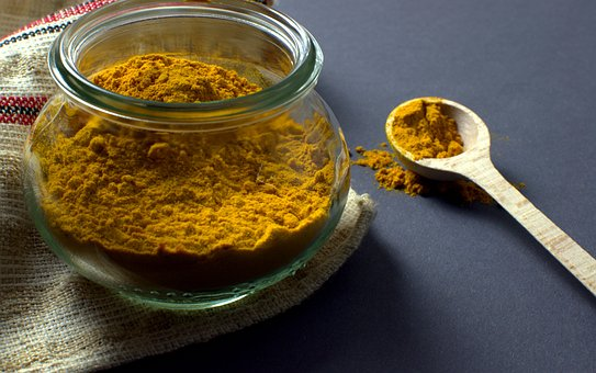 Turmeric, Manson Jar, Spoon, Food, Spice