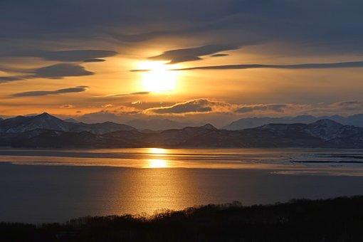 Avacha Bay, Sea, Sunset, Sky, Clouds