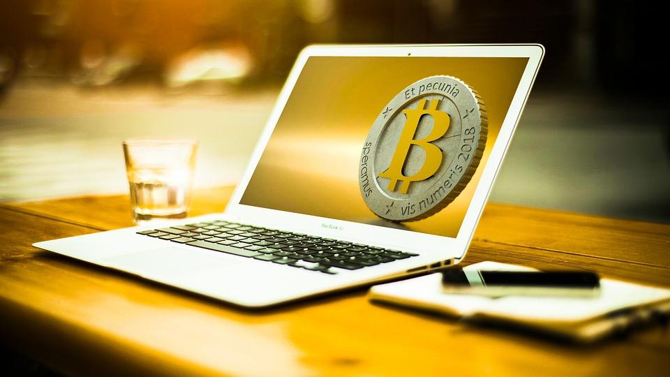 Bitcoin, 番号, 金属, 光沢のある, 鉄, 銀, ゴールド, クローズ アップ, ブロックチェーン