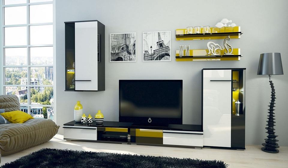 アパート, 現代, 以内, 部屋, 家具, ラウンジ