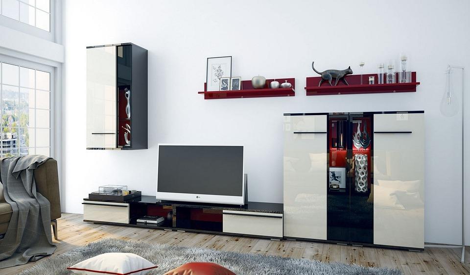 Модерни, Мебели, Вътре, Стая, Living