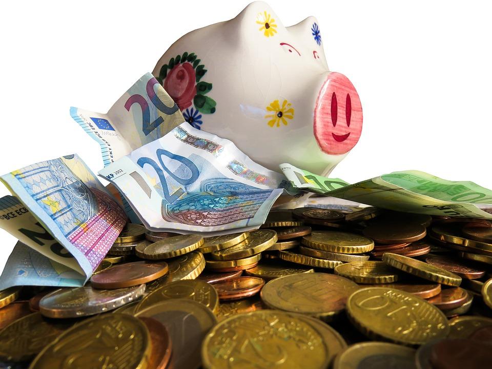 お金, 通貨, 金融, 保存し, 資金調達, ラッキー豚, 購入, コイン, 紙のお金, 紙幣, 貯金箱