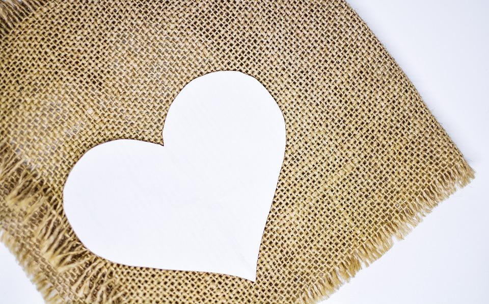 Heart Background Jute Rustic Valentine Day