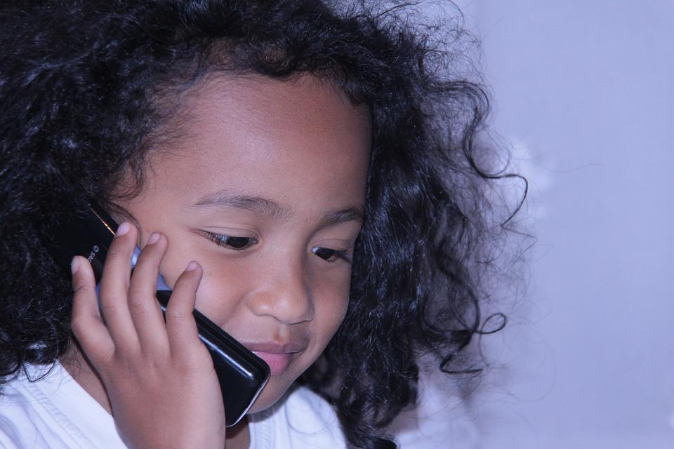 People, Portrait, Child, Girl, Telephone, Cute