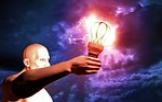 man, light bulb, sky