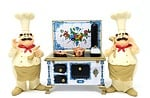 chefs, stove, pan