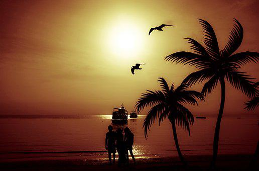 Family, Beach, People, Ship, Silhouette