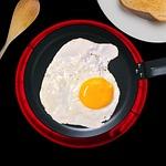 fried egg, egg yolk, frying pan