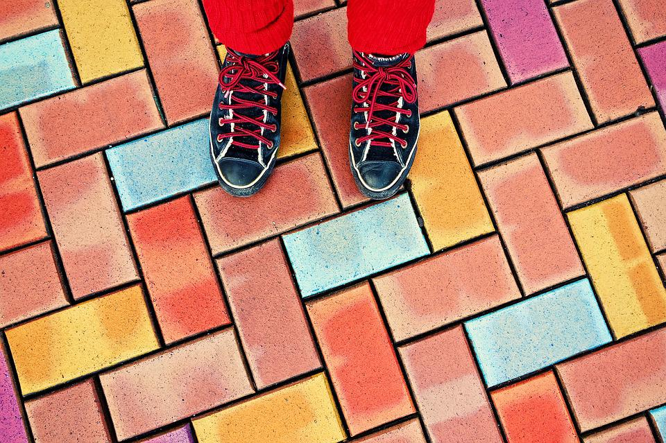 Feet, Female, Shoes, Sneakers, Standing, Street, Paving