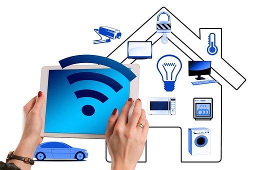 智能家居, 房子, 技术, 多媒体, 智能手机, 坏, 车库, 汽车, 厨房