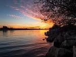 sunset, evening, water