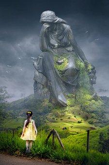 幻想, 景观, 纪念碑, 孩子, 女孩, 雕像, 悲伤, 天空, 神秘, 性质